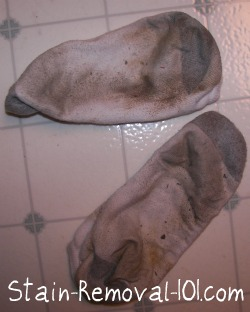 mud stains on socks