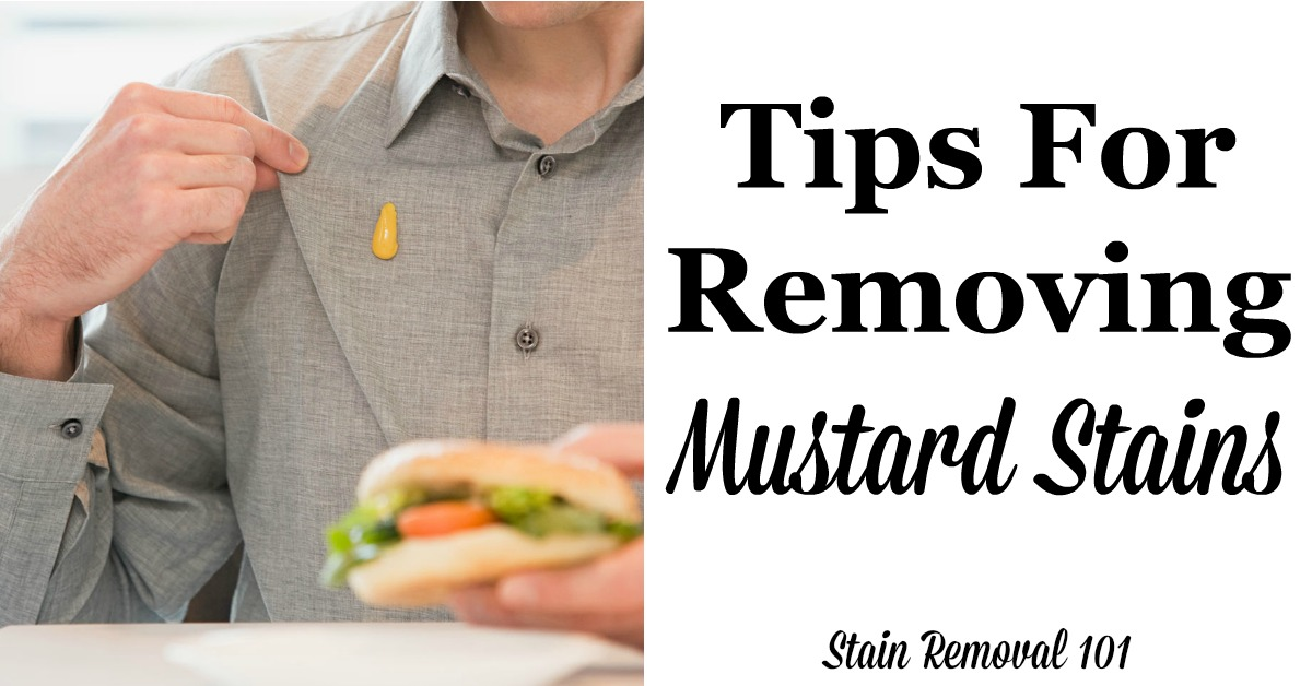 Here is a round up of tips for removing mustard stains from many types of surfaces, including reviews of various mustard stain remover products {on Stain Removal 101} #StainRemoval #RemovingStains #RemoveStains