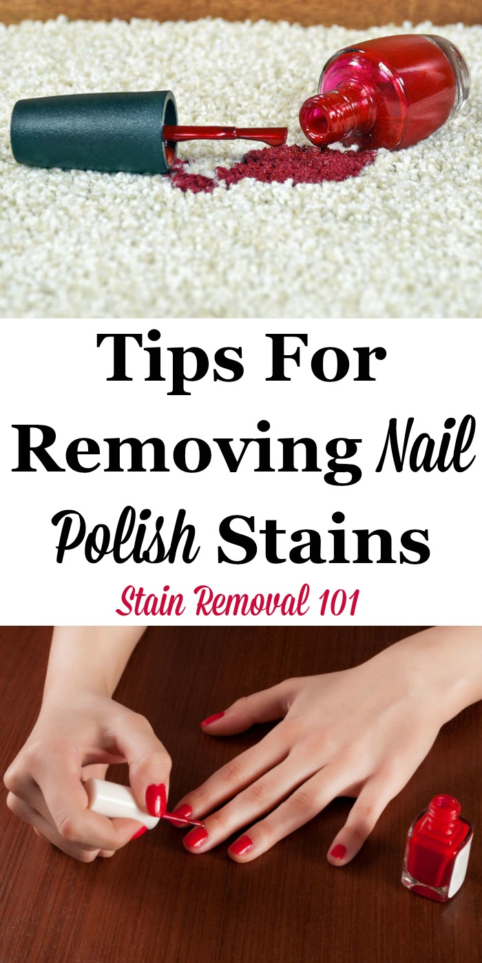Here is a round up of tips for removing nail polish stains from surfaces around your home, including clothing and carpet, along with reviews of how various stain removers worked for these tasks {on Stain Removal 101} #StainRemoval #RemovingStains #RemoveStains
