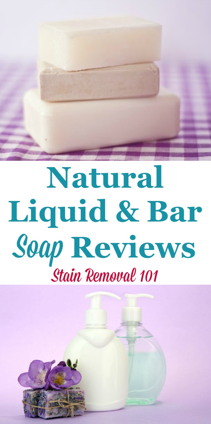Here is a round up of reviews of natural liquid soap and bar soap products, used for house cleaning and laundry {on Stain Removal 101}