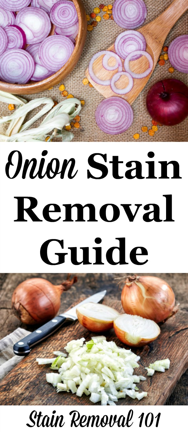 Step by step instructions for onion stain removal from clothing, upholstery and carpet {on Stain Removal 101} #OnionStainRemoval #StainRemoval #StainRemovalGuide