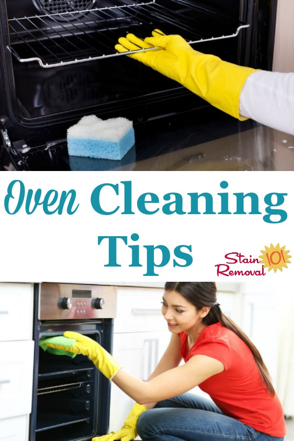 Here is a round up of oven cleaning tips to help you as quickly and easily (as possible) clean even the dirtiest oven {on Stain Removal 101} #OvenCleaning #CleaningOven #KitchenCleaning