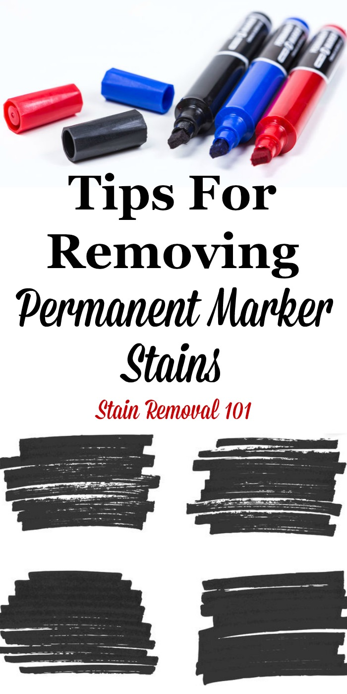 Here is a round up of tips for how to remove permanent marker stains from clothing, walls, carpet, upholstery and other places in your home, for these difficult to remove marks and scribbles {on Stain Removal 101} #StainRemoval #RemovingStains #RemoveStains