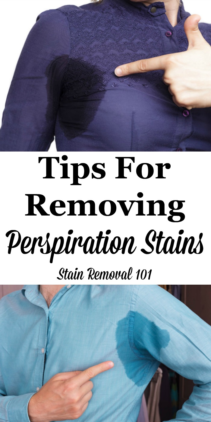 Here is a round up of tips for removing perspiration stains from clothing or other items, including DIY and home remedies for removing sweat stains, as well as stain remover reviews {on Stain Removal 101} #StainRemoval #RemoveStains #RemovingStains