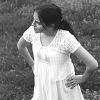 girl in white cotton dress