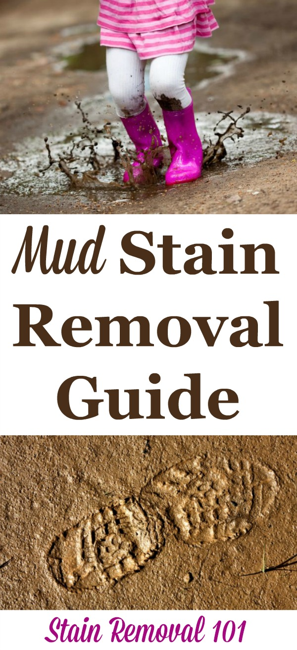 Step by step instructions for how to remove mud stains from clothing, upholstery and carpet {on Stain Removal 101} #MudStainRemoval #MudStains #StainRemovalGuide
