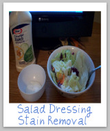 creamy salad dressing stains