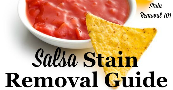 Step by step instructions for salsa stain removal from clothing, upholstery and carpet {on Stain Removal 101}