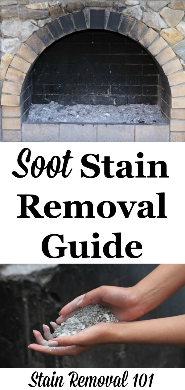 Soot stain removal guide for clothing, upholstery and carpet, with step by step instructions, plus tips for removing from hard surfaces too {on Stain Removal 101}