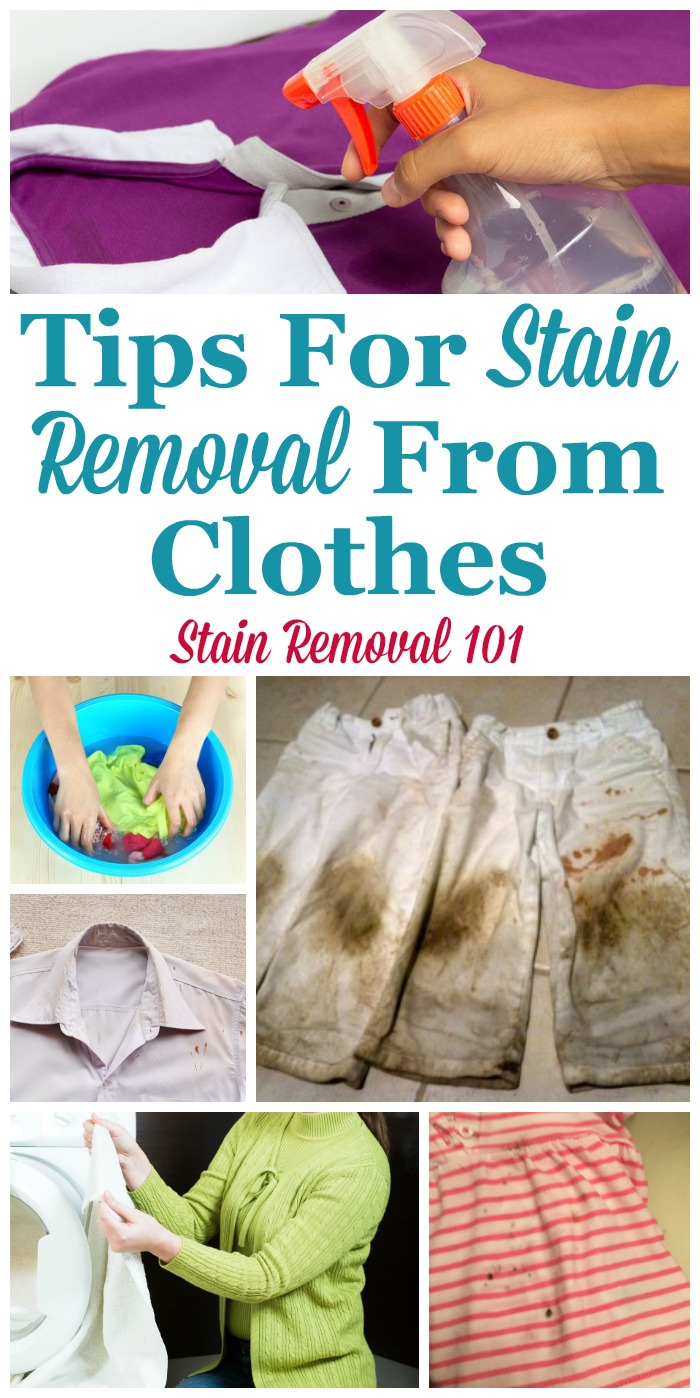 Round up of over 60 tips for stain removal from clothes, including the most common stains, to keep your clothes clean and stain free {on Stain Removal 101}