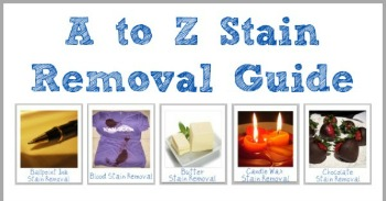A-Z Stain Removal Guide with 100s of pages of step by step instructions for removing specific stains from clothing, upholstery and carpet {on Stain Removal 101}