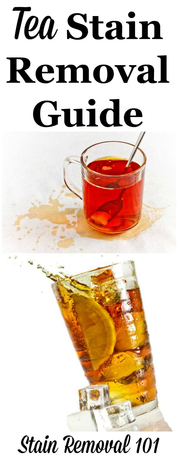 Tea stain removal guide, for clothing, upholstery and carpet, for both hot and iced tea, as well as green tea {on Stain Removal 101}