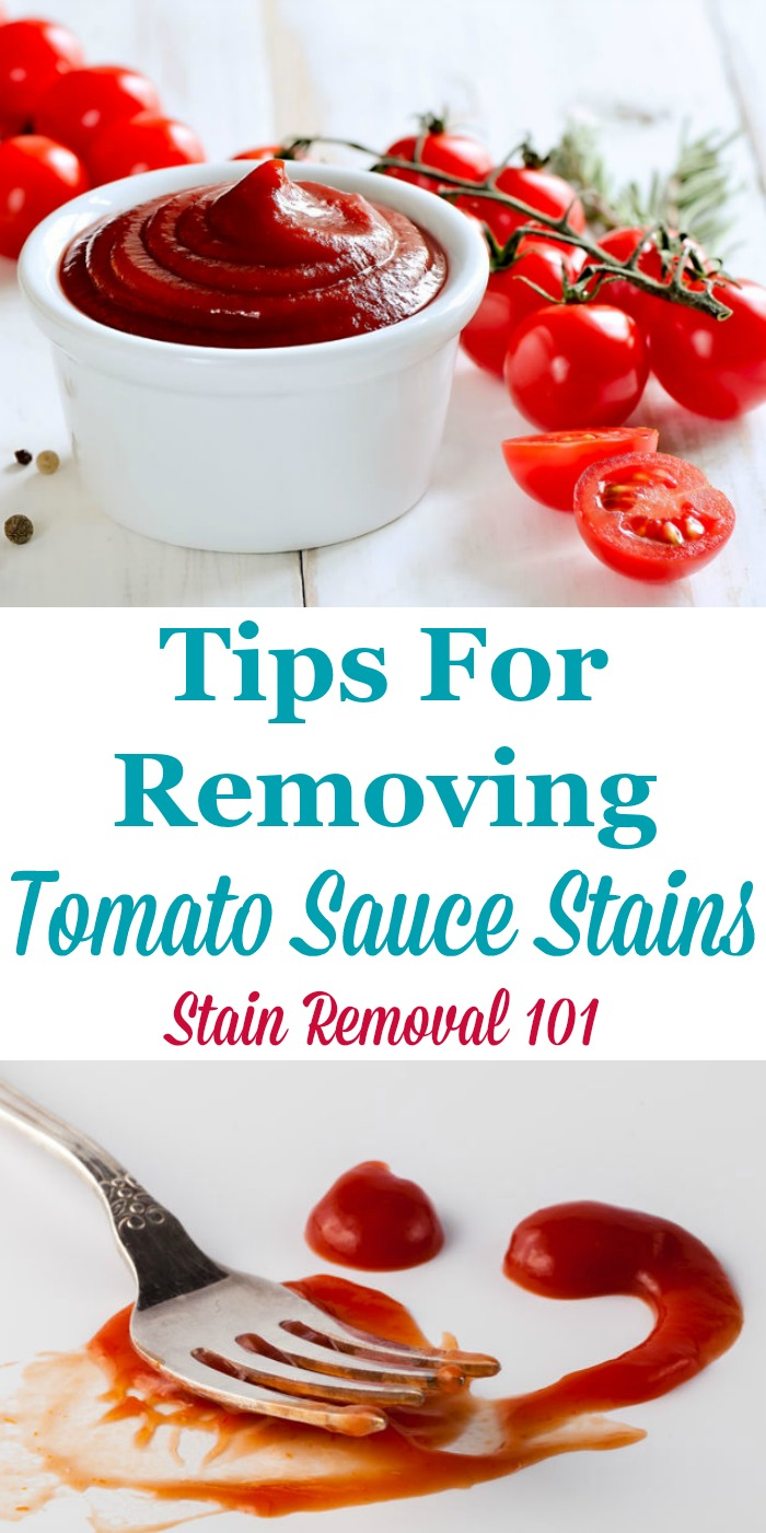 Here is a round up of tips for how to remove tomato sauce stains from many surfaces, including clothing, carpet and hard surfaces, plus a review of how various laundry and stain removal products worked on these sometimes tough spots {on Stain Removal 101}