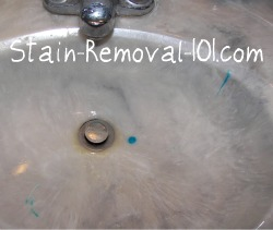 toothpaste splatters in sink