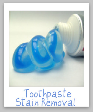 How to remove toothpaste stains from clothes, upholstery, carpet and hard surfaces like the sink {on Stain Removal 101}