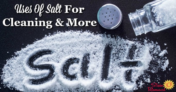 Here is a round up of the DIY, frugal and natural uses of salt for cleaning, stain removal and more in your home {on Stain Removal 101}