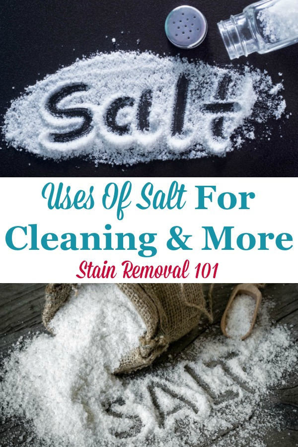 Here is a round up of the DIY, frugal and natural uses of salt for cleaning, stain removal and more in your home {on Stain Removal 101} #UsesOfSalt #SaltUses #UsesForSalt