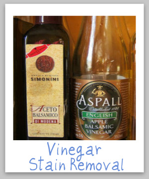 How to remove vinegar stains of many varieties, including apple cider, red wine, malt and balsamic vinegar, with step by step instructions {on Stain Removal 101}