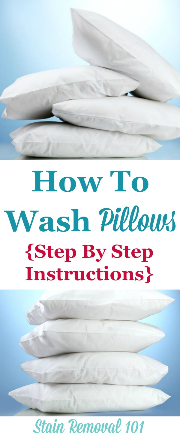 Step by step directions for how to wash pillows, and then how to dry them so they're not lumpy {on Stain Removal 101} #LaundryTips #WashPillows #WashingPillows