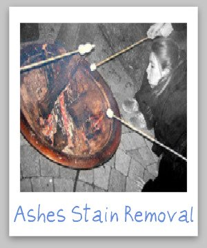 Step by step instructions for ashes stain removal from clothes, upholstery and carpet {on Stain Removal 101}
