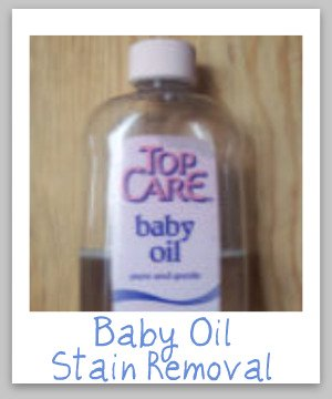 Baby oil stain removal guide, with step by step instructions for clothing, upholstery and carpet {on Stain Removal 101}