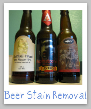 Beer stain removal guide for clothing, upholstery and carpet, with step by step instructions {on Stain Removal 101}