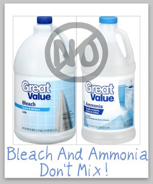 Important safety rule: Don't mix bleach and ammonia -- it can produce toxic poisonous fumes. Learn more in the article from Stain Removal 101.