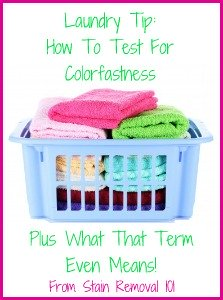 Instructions for how to test for colorfastness when using both chlorine bleach and other laundry supplies and stain removers. {on Stain Removal 101}