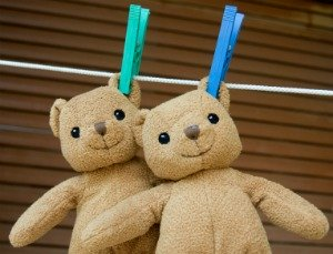 drying stuffed animals on clothes line