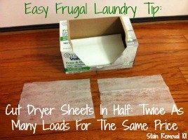 cut dryer sheets in half