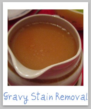 Gravy stain removal instructions for clothing, upholstery and carpet {on Stain Removal 101}