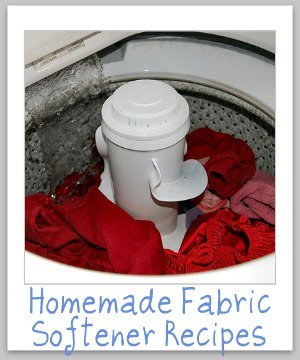 Two homemade fabric softener recipes which are natural and frugal, one for your washing machine, and another for your dryer {on Stain Removal 101}
