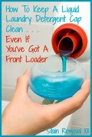 pouring liquid laundry detergent