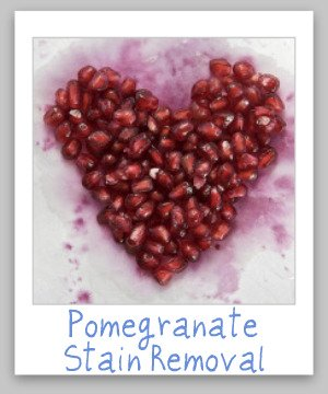 How to remove pomegranate stains from juice or the seeds from clothes, upholstery and carpet {on Stain Removal 101}