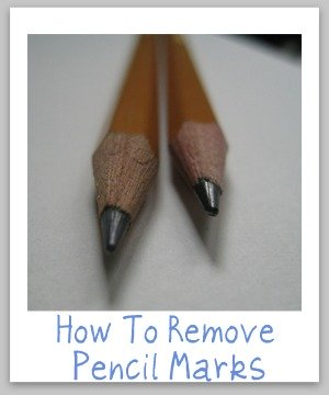 How to remove pencil marks and scribbles around your home from clothes, upholstery and carpet, as well as hard surfaces like walls, counters and more {on Stain Removal 101}