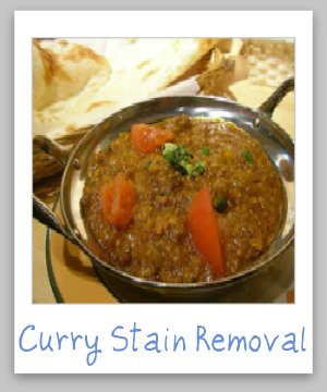 Step by step instructions for removing curry stains from clothing, upholstery and carpet {on Stain Removal 101}