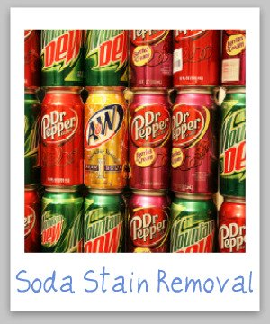 Step by step instructions for how to remove cola, soft drink and soda stains from clothing, upholstery and carpet, including both dark colas and those with brighter colored dyes {on Stain Removal 101}