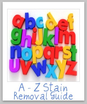 {A to Z} stain removal guide, which is a round up of over 100 pages of stain removal tips and instructions for every stain imaginable! {on Stain Removal 101}