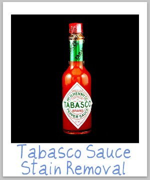 Step by step Tabasco sauce stain removal guide for clothing, upholstery and carpet {on Stain Removal 101}