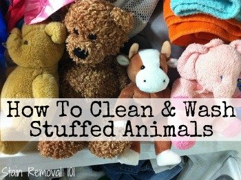 How to instructions for cleaning and washing stuffed animals using the washing machine, hand washing and spot cleaning (with homemade cleaning recipe too!), and how to dry them as well {on Stain Removal 101} #WashingStuffedAnimals #CleaningStuffedAnimals #CleaningTips