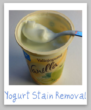 Tips and step by step instructions for removing yogurt stains from clothing, upholstery and carpet {on Stain Removal 101}