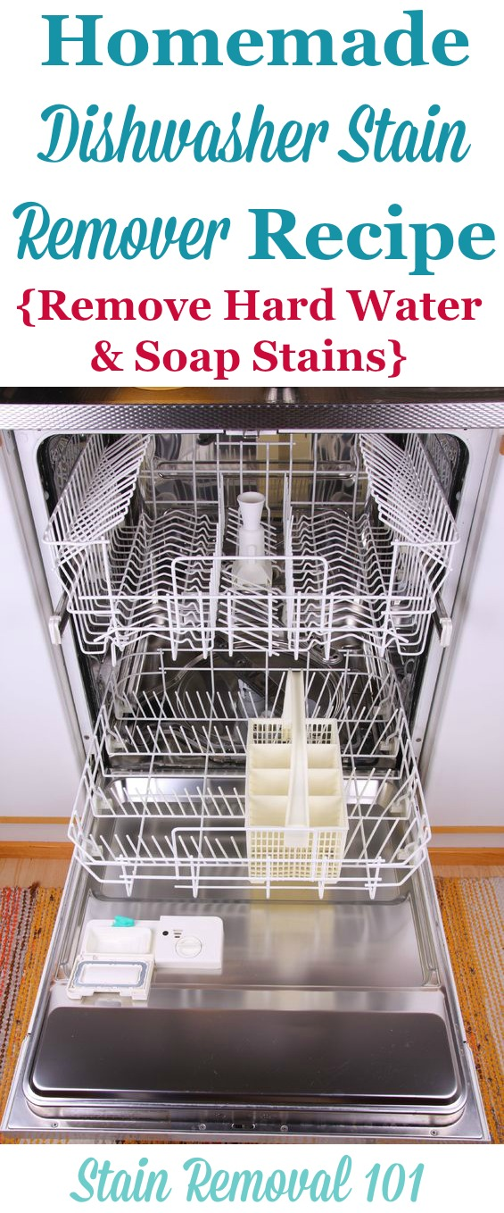 Simple and frugal homemade dishwasher stain remover recipe, used for removing hard water and soap stains {on Stain Removal 101}