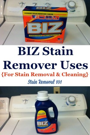 Biz stain remover reviews and uses for laundry, stain removal and cleaning, including discussion of what stains it works best on and comparisons of the powder versus the liquid versions {on Stain Removal 101} #BizStainRemover #StainRemover #LaundryProducts