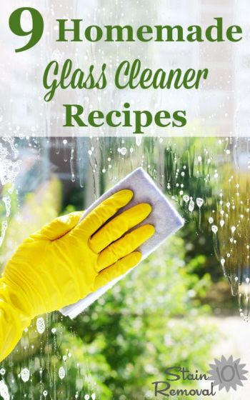 9 homemade glass cleaner recipes using a variety of ingredients {on Stain Removal 101}