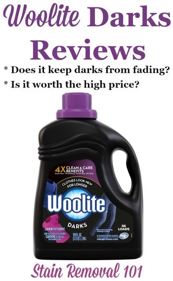Woolite for Darks reviews, including discussions of whether the high price is worth it, whether it actually works well to prevent fading of dark clothes, allergic reactions and more {on Stain Removal 101} #Woolite #WooliteDarks #LaundryDetergent