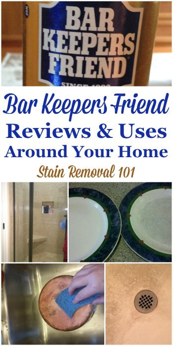 Lots of reviews and uses of Bar Keepers Friend, explaining the many ways you can use this powder cleanser to clean parts of your home, such as in your kitchen, bathroom and more {on Stain Removal 101} #BarKeepersFriend #CleaningTips #Cleaner