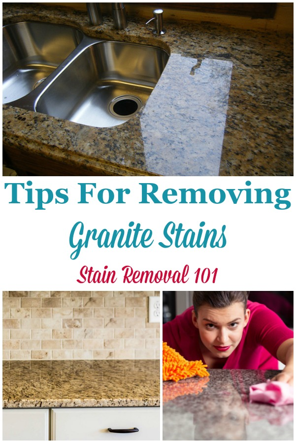 Tips for how to remove granite stains, including from grease using a poultice {on Stain Removal 101} #GraniteStains #CleaningGranite #CountertopStains