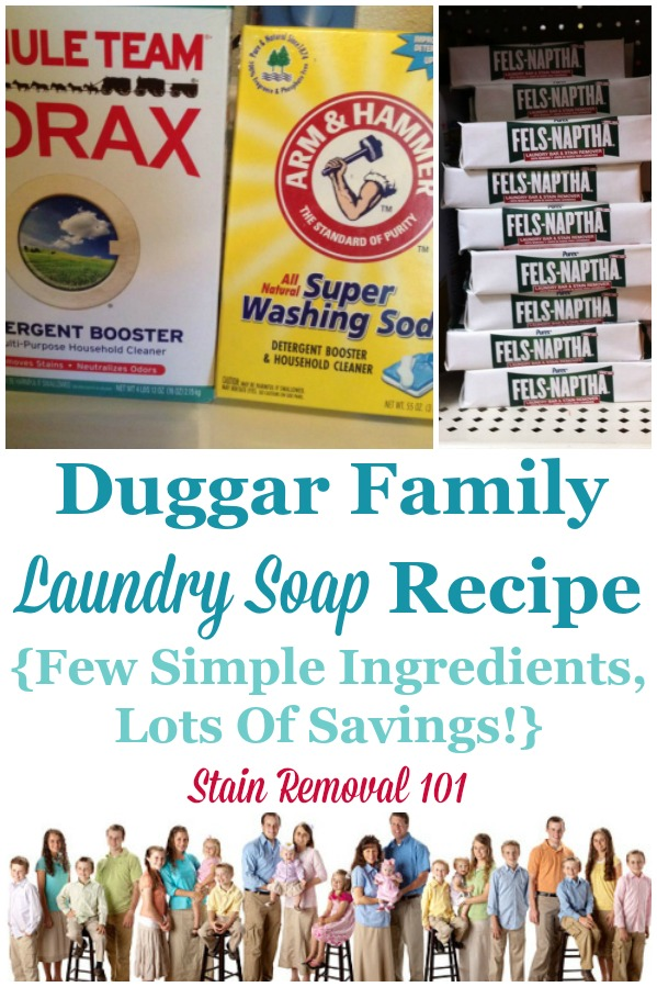 Duggar family laundry soap recipe: just a few simple ingredients for huge savings {on Stain Removal 101} #LaundrySoapRecipe #HomemadeLaundrySoap #HomemadeLaundryDetergent
