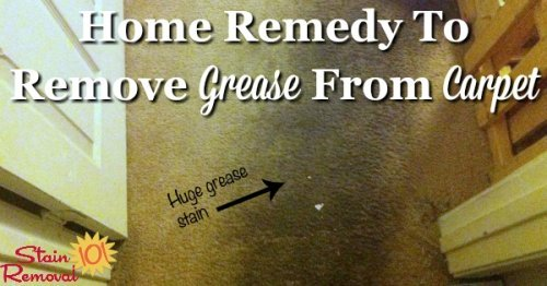 Simple home remedy to remove grease from carpet {on Stain Removal 101}