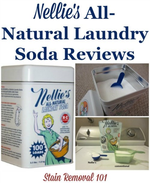 Nellie's laundry soap reviews, a natural washing soap, of both the powder and pacs on Stain Removal 101